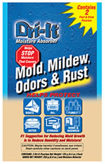 Dri-It helps prevent mold,mildew,rust and corrosion.